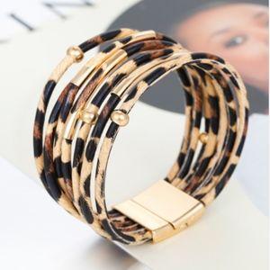 Leopard Print Wrap Bangle Magnet Bracelet